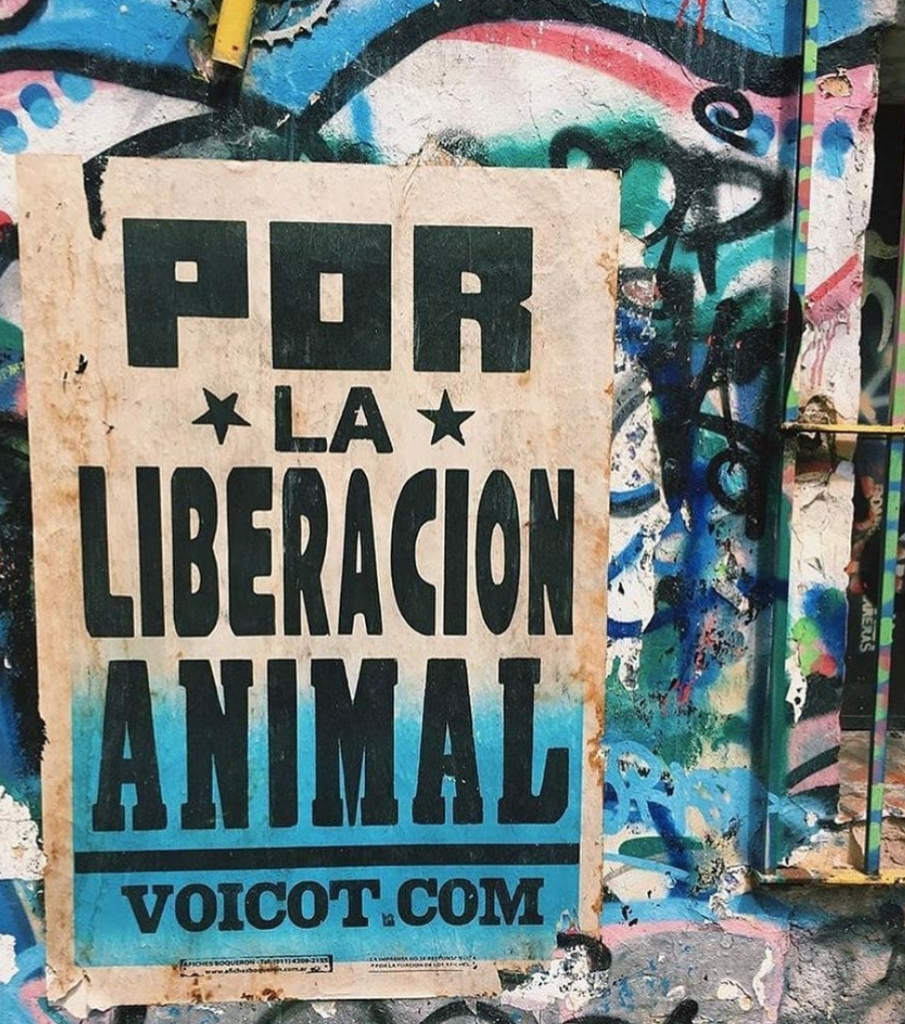 "Photo of a sign that reads: ""Por la liberacion animal. voicot.com"""