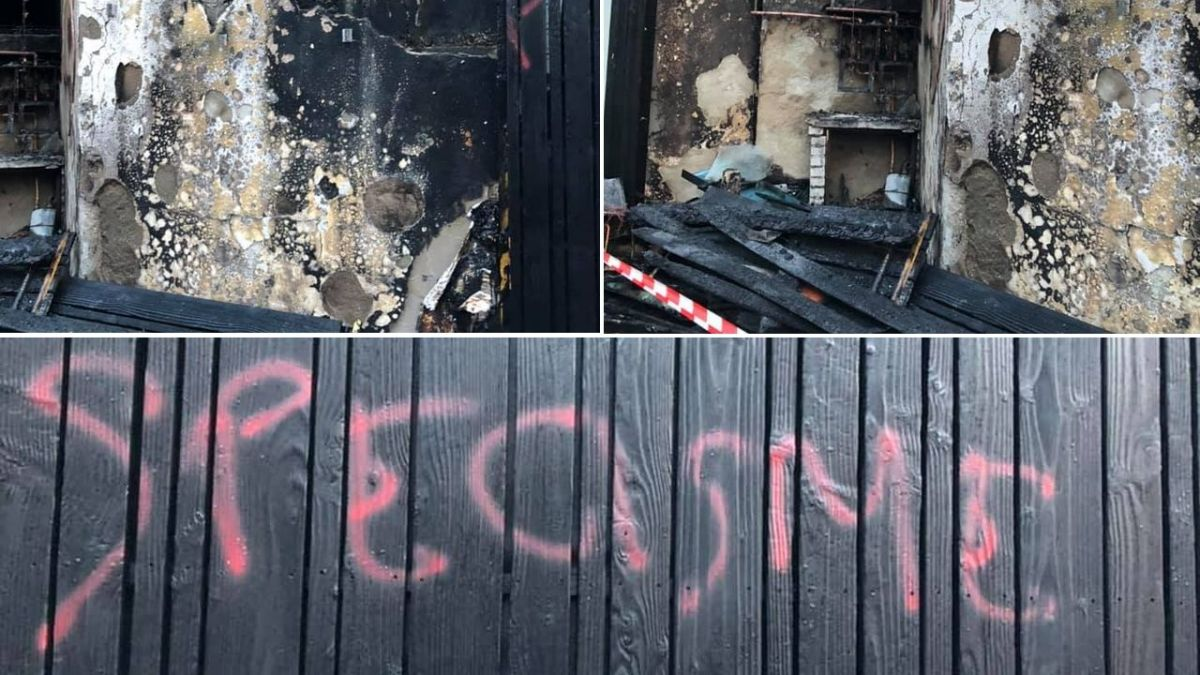 MEAT RESTAURANT ATTACKED WITH FIRE.