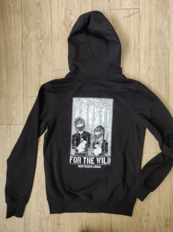 Photo of a black hooded pullover jumper with an illustrated print on the front